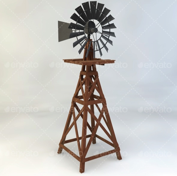 3DOcean Wooden Windmill Low-Poly 11774023