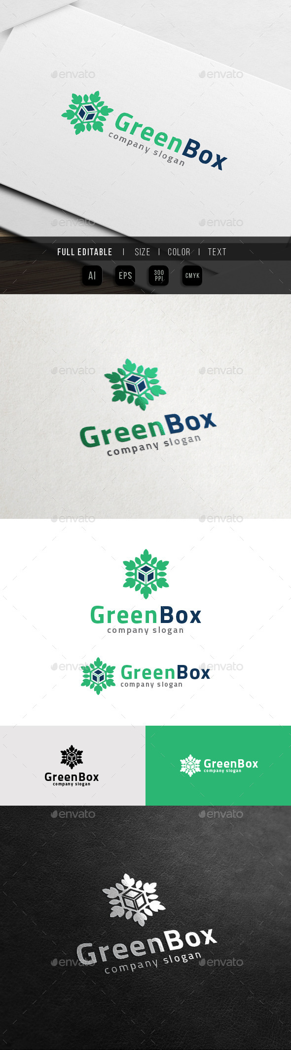 GraphicRiver Green Box Eco leaf Cube Logo 11774648