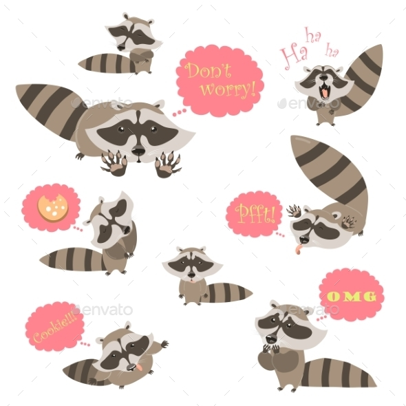 GraphicRiver Collection Of Funny Raccoons 11774892