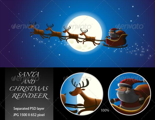 GraphicRiver Santa and Christmas Reindeer 144508