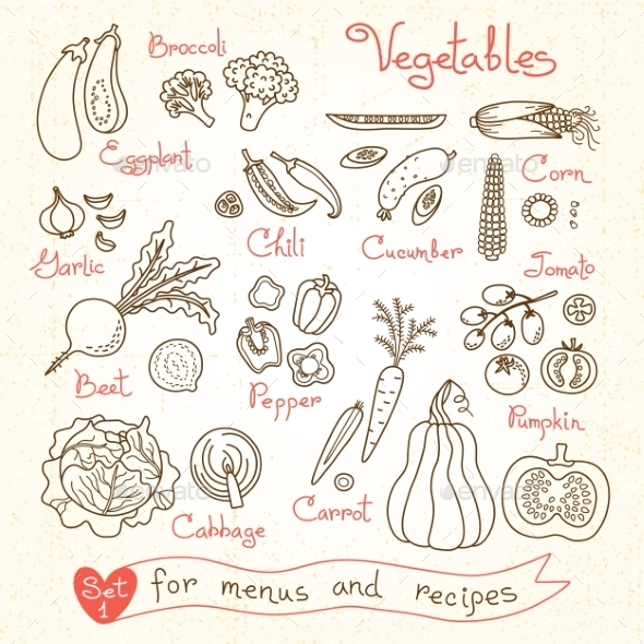 GraphicRiver Set Drawings Of Vegetables For Design Menus 11775123