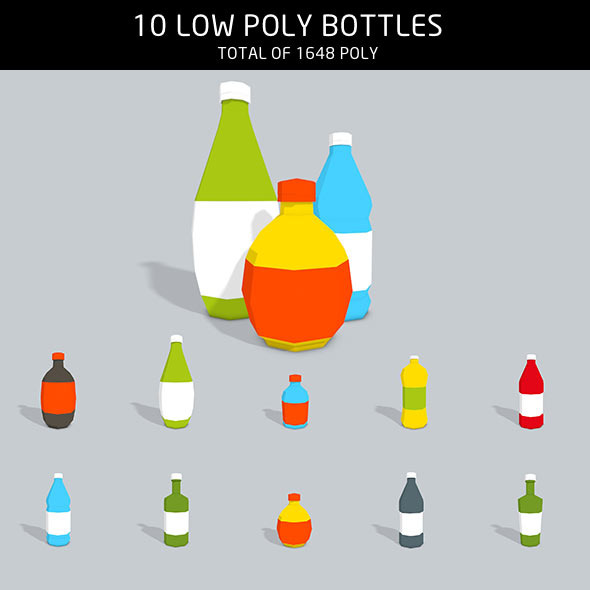 3DOcean Bottles low poly 11775168