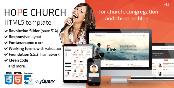 ThemeForest Hope Church Responsive HTML5 Template 11693546
