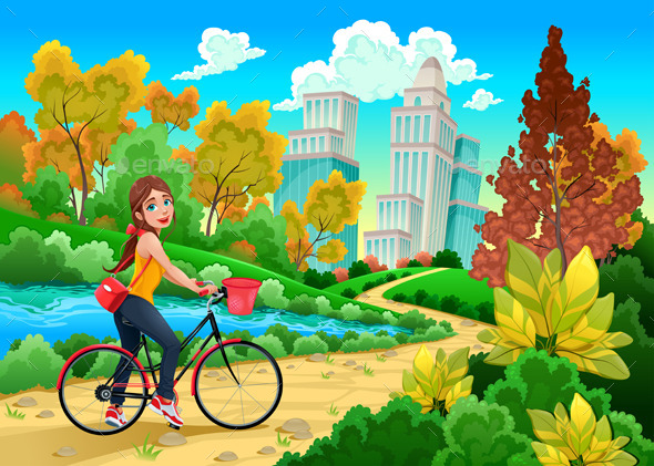 GraphicRiver Lady on a Bike in a Urban Park 11775545