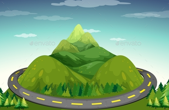 GraphicRiver Road and Mountain 11776217