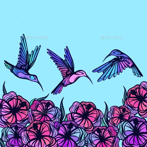 GraphicRiver Flying Tropical Stylized Hummingbirds With Flowers 11776922