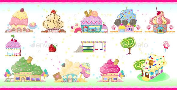 GraphicRiver Cupcake houses 11777829