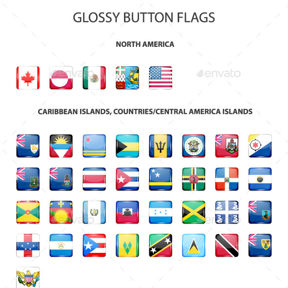 Set Of Glossy Button Flags