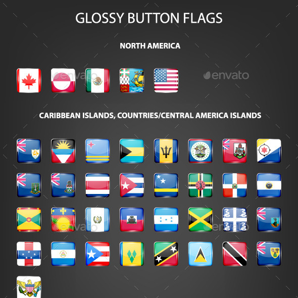 GraphicRiver Set Of Glossy Button Flags 11771610
