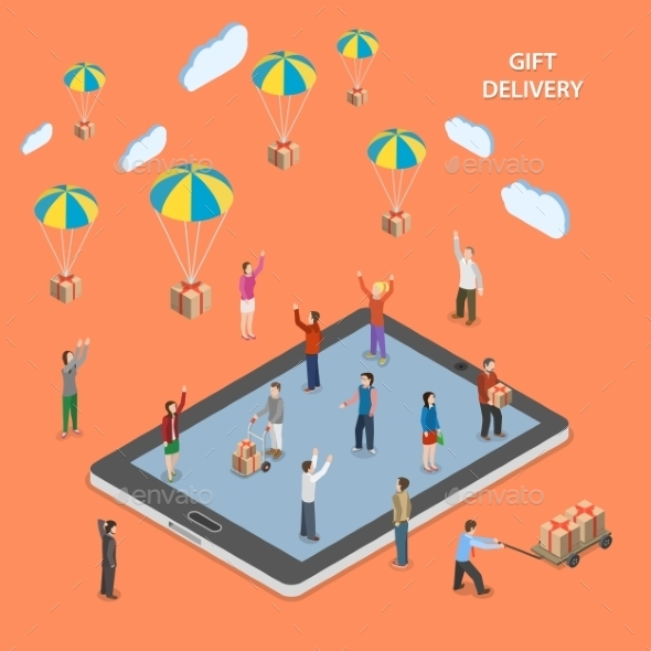 GraphicRiver Gift Delivery Flat Isometric Vector Illustration 11778678