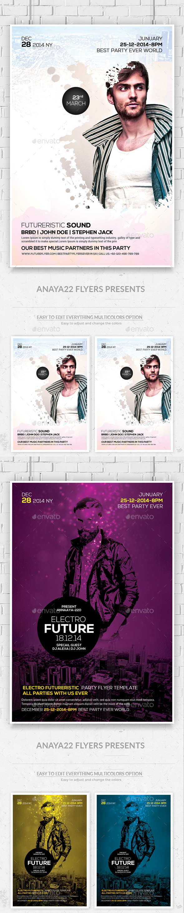 GraphicRiver Electro Concert Dj Flyers Bundle 11779778