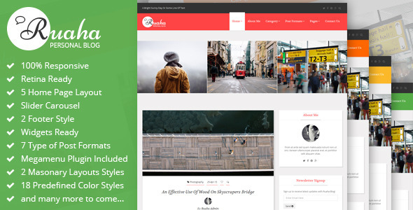 ThemeForest Ruaha Personal Blog Bootstrap Template 11579020