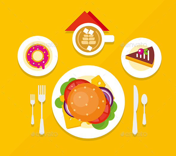 GraphicRiver Food Objects on Table Flat Design 11779952