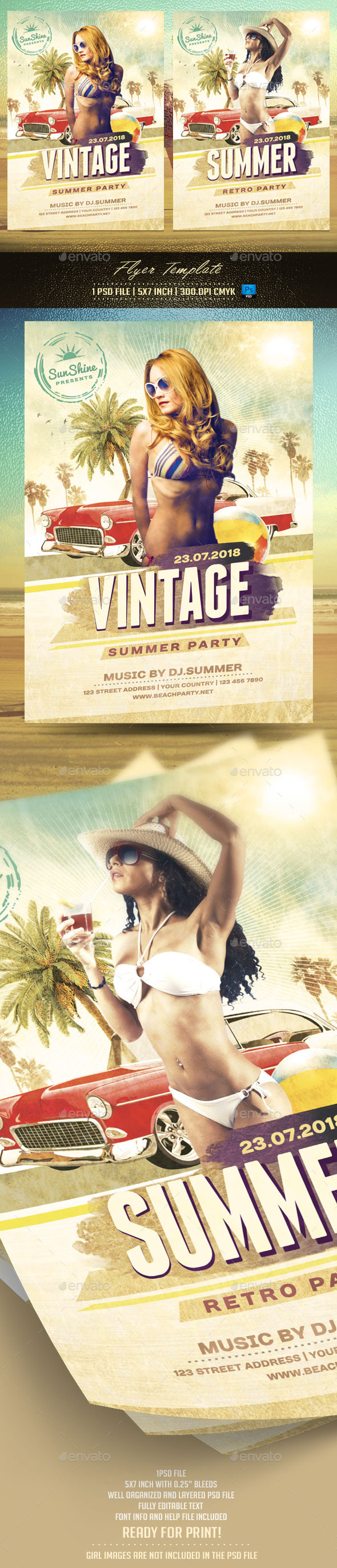 GraphicRiver Vintage Summer Flyer Template 11780087