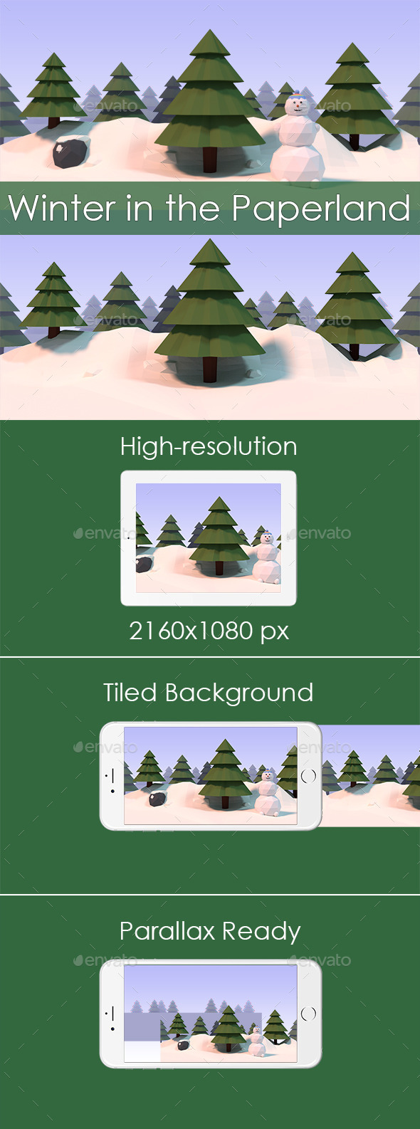 GraphicRiver Winter in the Paperland Game Background 11780099