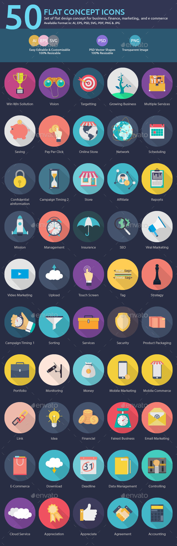 GraphicRiver 50 Flat Concept Icons 11780178