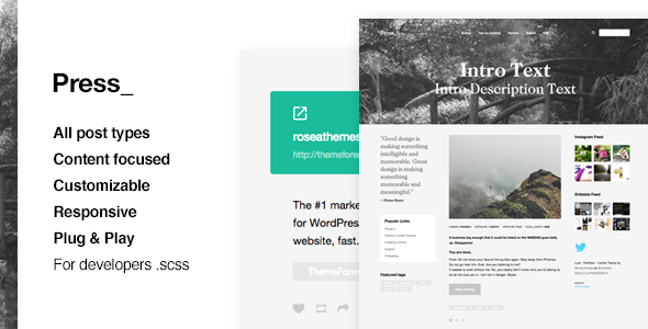 ThemeForest Press Premium Blogging Tumblr Theme 11780227
