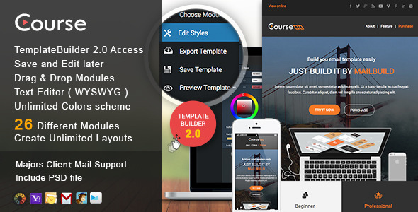 ThemeForest Course Responsive Email & MailBuild Online 11564627