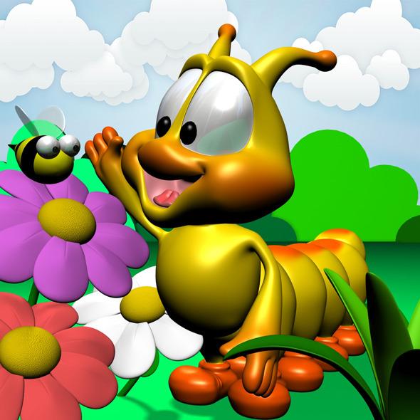 3DOcean Cartoon Caterpillar Rigged 11780744