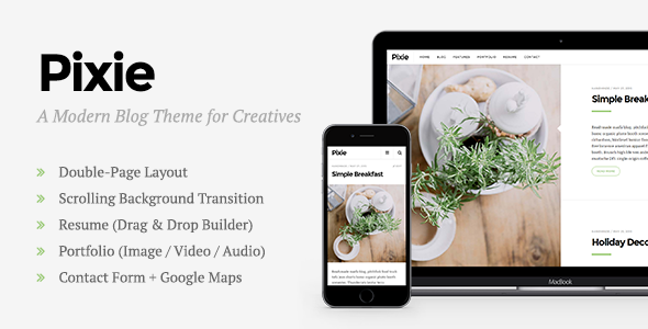 ThemeForest Pixie Modern WordPress Blog Theme for Creatives 11623840