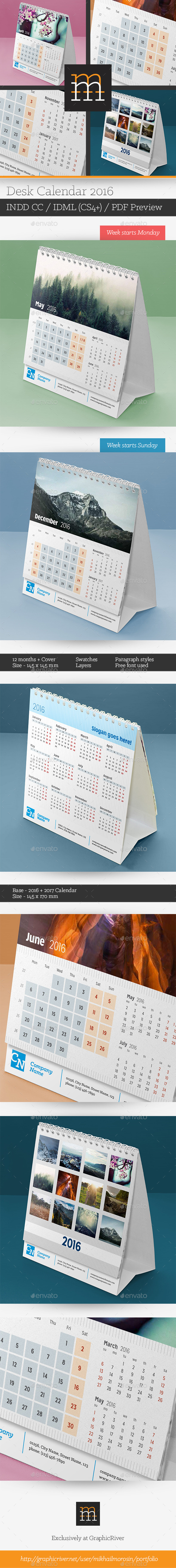 GraphicRiver Desk Calendar 2016 11781322