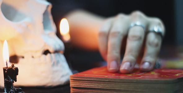 Woman Lays Tarot Cards