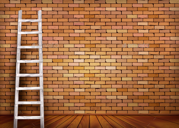 GraphicRiver Vintage Brick Wall Background With Wooden Ladder 11782788