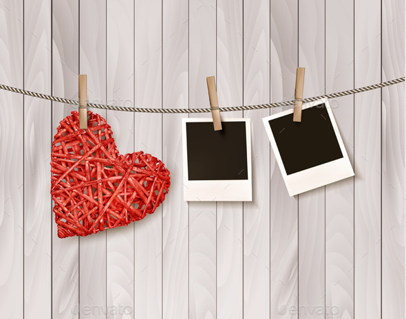 GraphicRiver Red Wooden Heart With Photographs 11782926