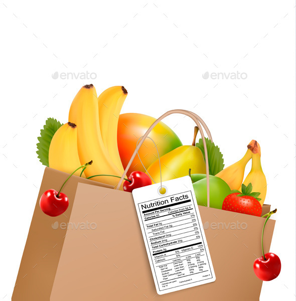 Shopping Bag With Healthy Fruit And A Nutrient