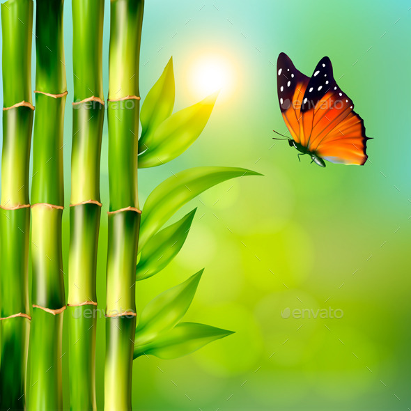 GraphicRiver Spa Background With Bamboo And Butterfly 11783022