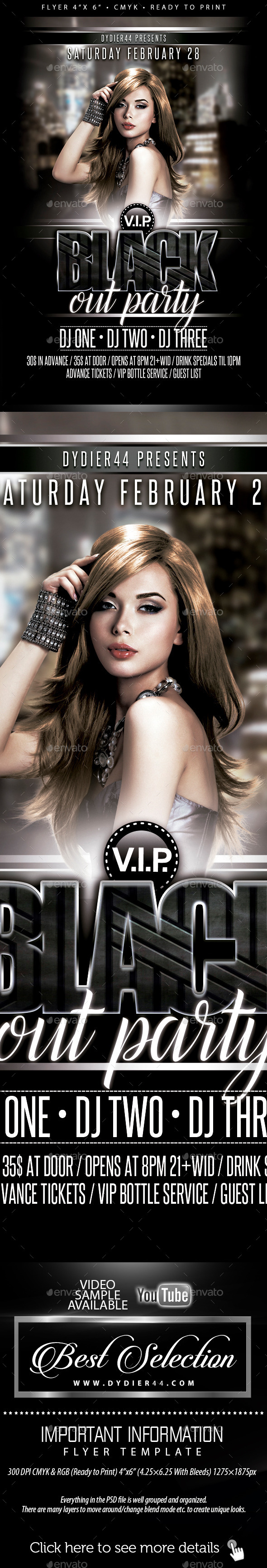 GraphicRiver VIP Blackout Party Flyer Template 4x6 11783381