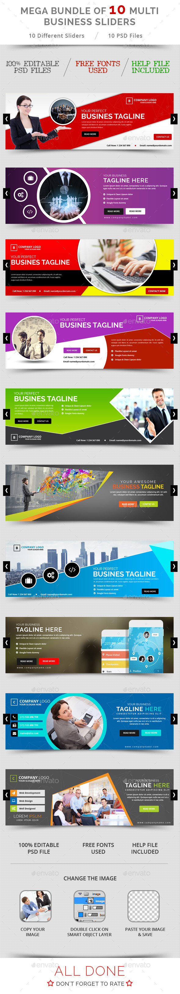 GraphicRiver Bundle of 10 Business Sliders 11769938