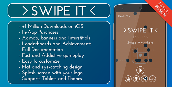 CodeCanyon Swipe It Admob & IAP & Leaderboards 11784109