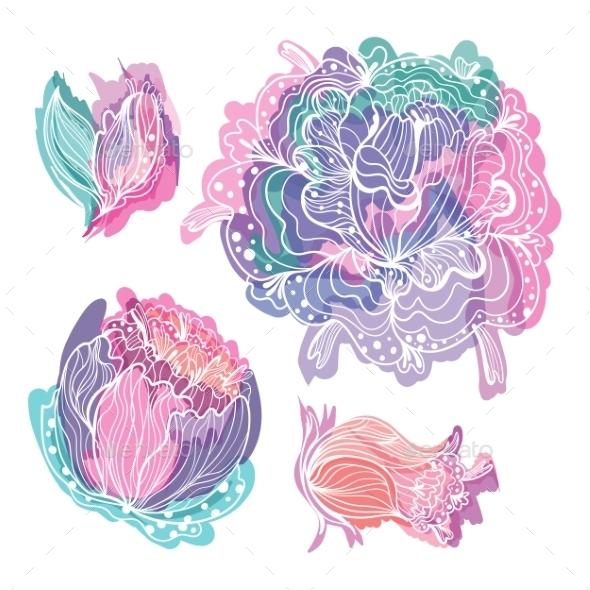 GraphicRiver Pastel Doodle Romantic Vector Flowers 11784675
