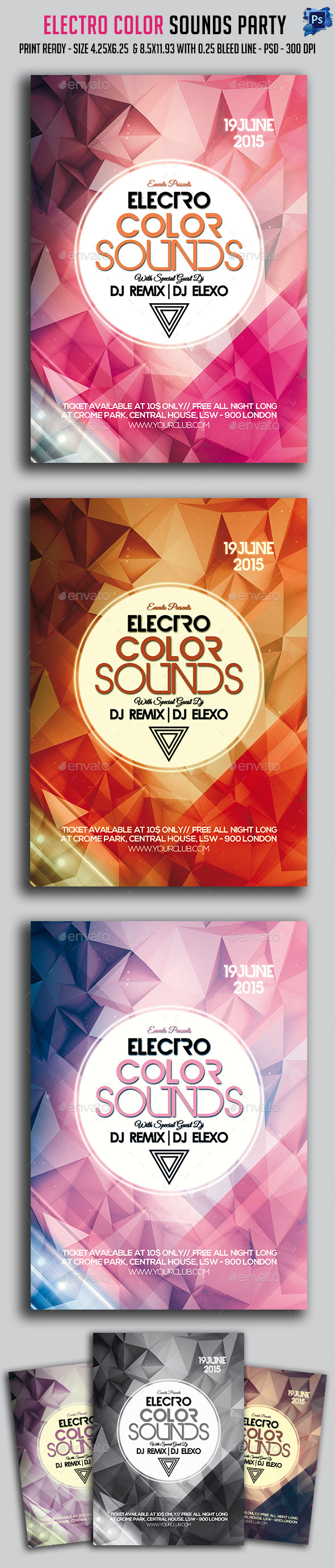 GraphicRiver Electro Color Sounds Party Flyer 11784970