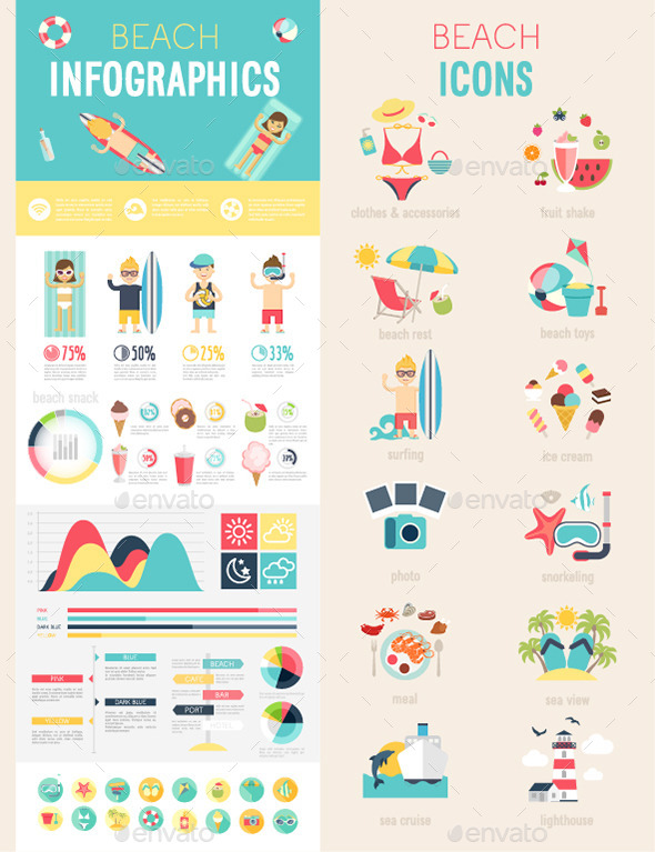 GraphicRiver Beach Infographic Set with Charts and Icons 11785005