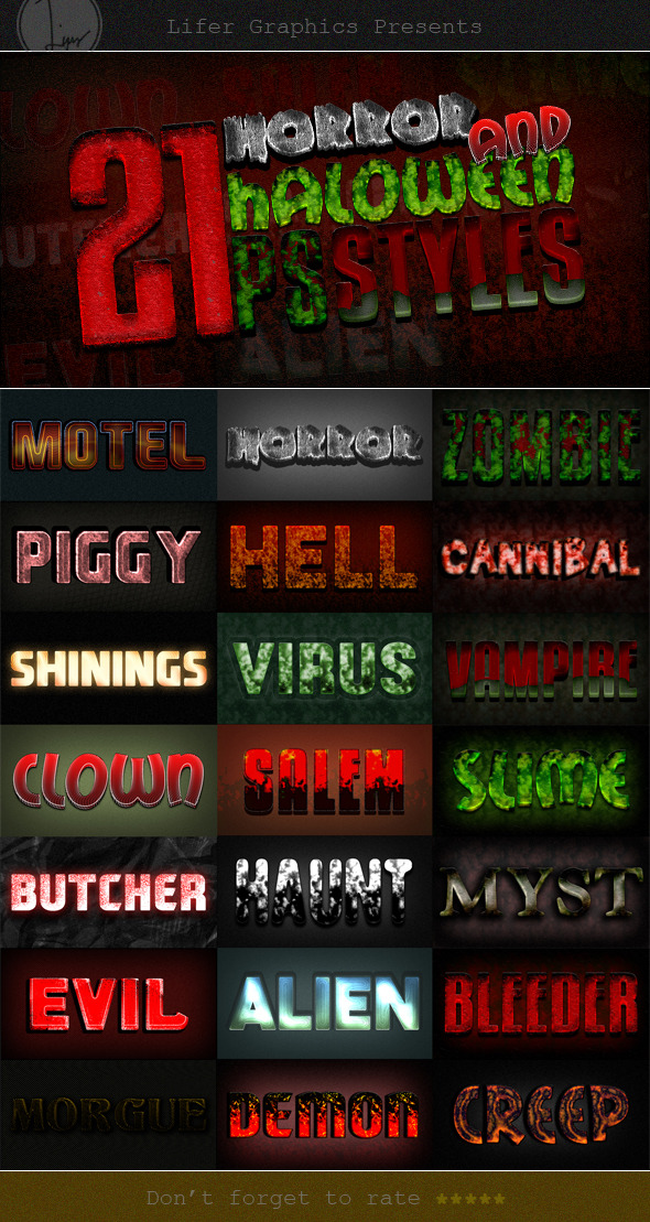 GraphicRiver Photoshop Text Styles Bundle Horror Pack 11785015