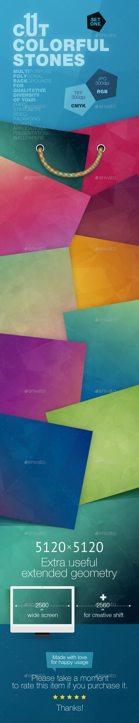 GraphicRiver 11 Cut Colorful Stones Backgrounds 11785093