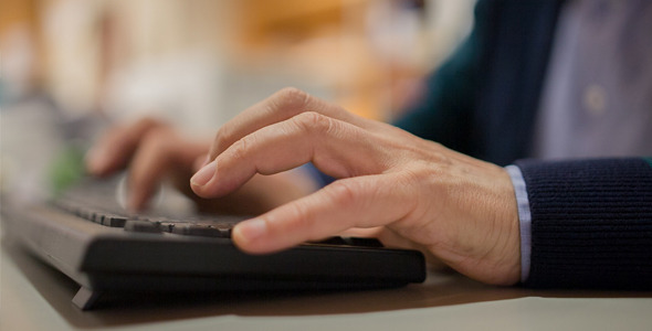 Senior Computer Typing