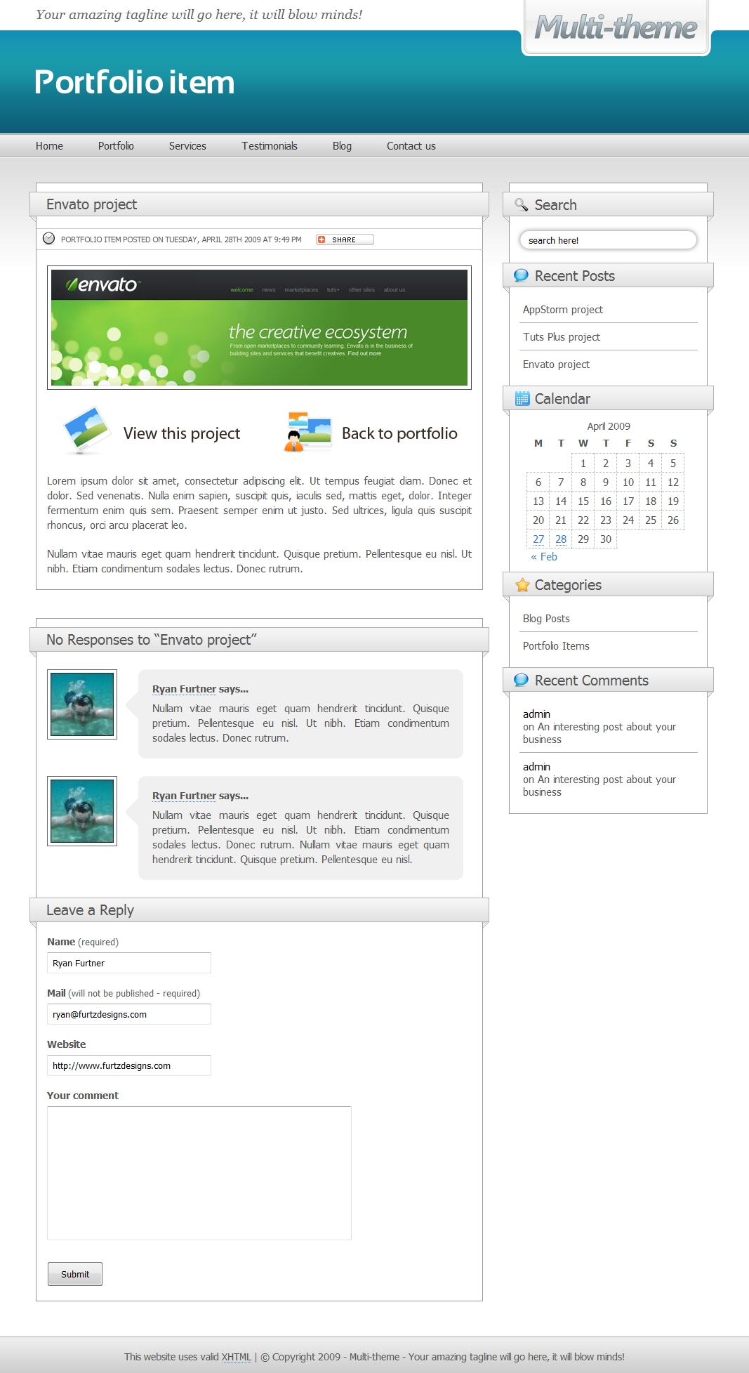 Multi-theme: 10 Colors - Business/Portfolio/Blog - This is a portfolio using the 'light blue' colour scheme showing an image aligned to the right within the post and the in-built 'view this project' section for portfolio items.
