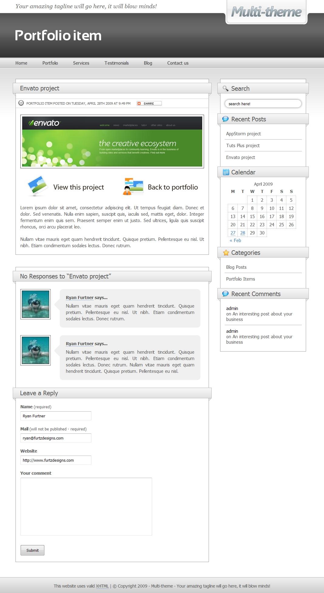 Multi-theme: 10 Colors - Business/Portfolio/Blog - Portfoli item using the 'charcoal' theme.