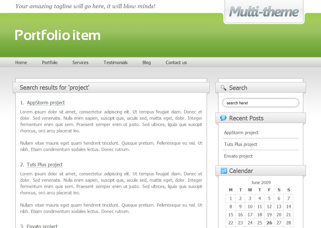 Multi-theme: 10 Colors - Business/Portfolio/Blog - Search results page using the 'light green' colour scheme.