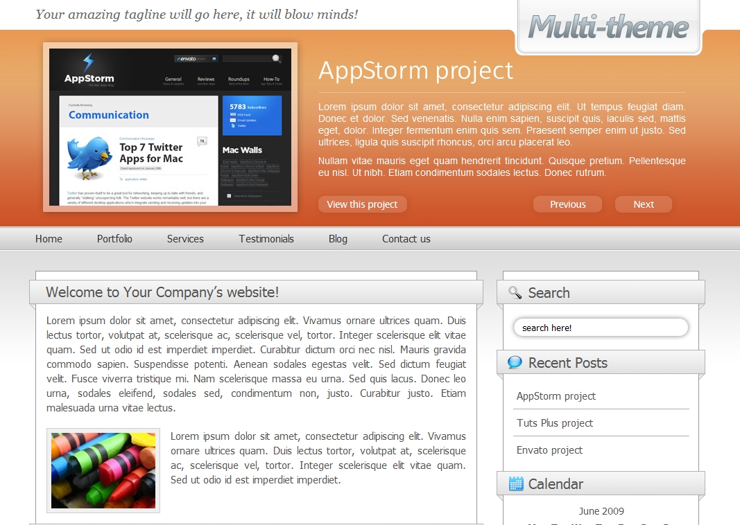 Multi-theme: 10 Colors - Business/Portfolio/Blog - The front page with the small header option chosen and using the 'orange' colour scheme.