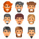 Bearded Male Heads Set