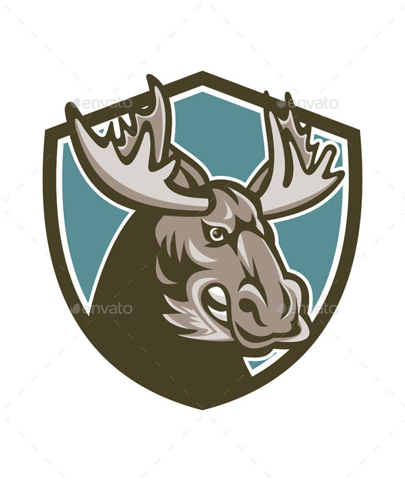 Angry Moose Mascot Shield