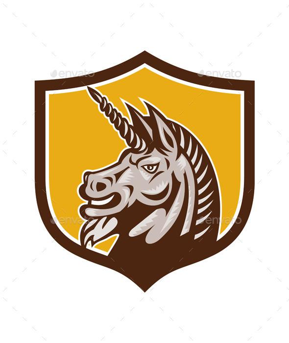 GraphicRiver Unicorn Horse Head Side Crest Retro 11786019