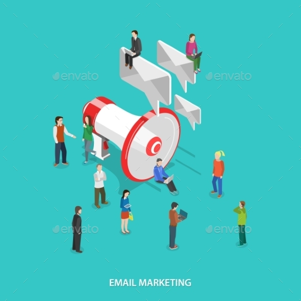 GraphicRiver Email Marketing Flat Isometric Vector Concept 11786194