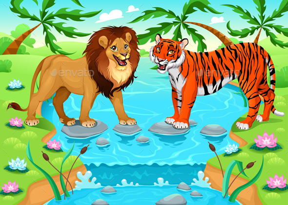 GraphicRiver Lion and Tiger Together in the Jungle 11786527