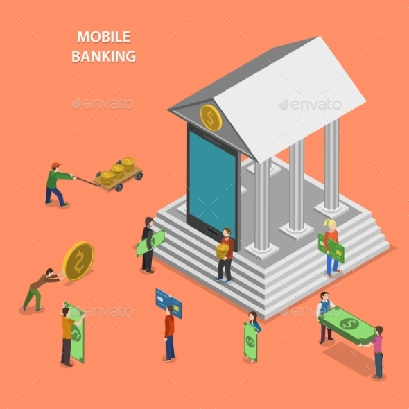 GraphicRiver Mobile Banking Flat Isometric Concept 11786728