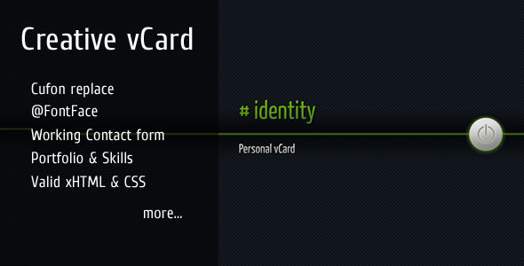 # identity - Creative vCard / Personal portfolio